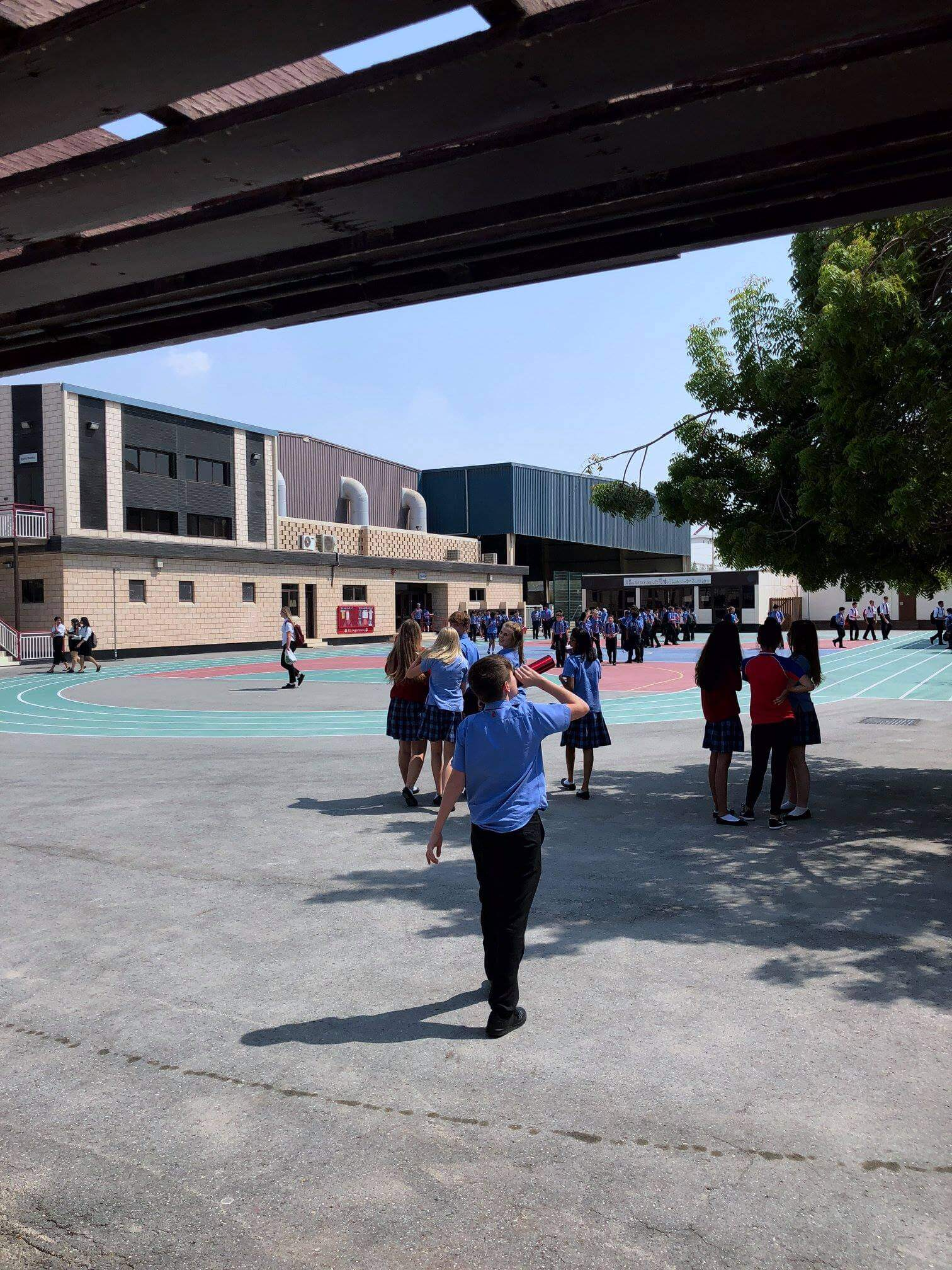 Track Break: 'Getting used to the weather in Bahrain is hard for most and very few venture outside the safety of air conditioning, but on occasion through September we get some cool afternoons or even a break from the humidity. St Christopher's Senior School has many open areas and a prime one is this central track which many find themselves walking across daily to their various lessons'